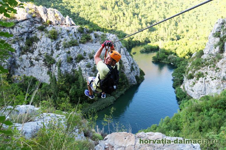 зип-лайн, Омиш, каньон Цетины, развлечения, Хорватия