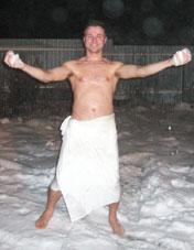 после бани, снег, Славен