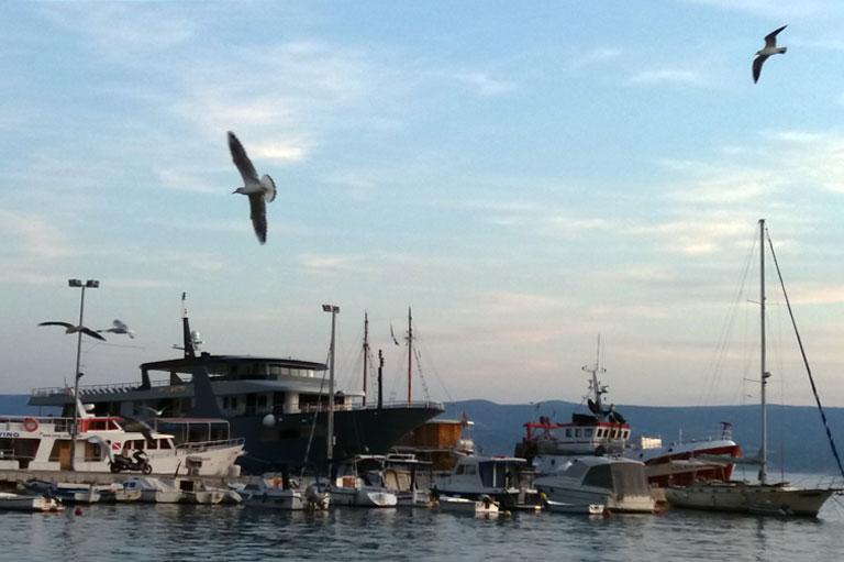 чайки, море, пристань, корабли