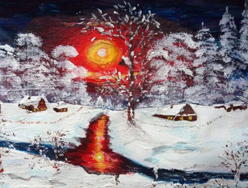 Зима, река, картина, Ольга, солнце